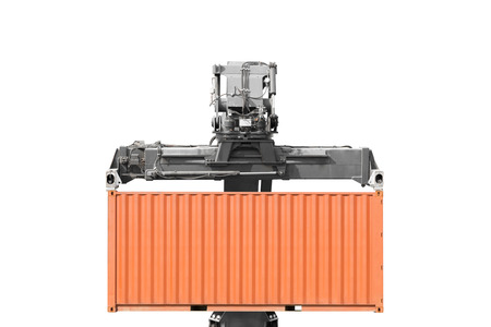 Crane lifting up container isolated on white background with clipping path
