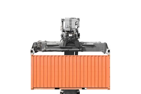 Kran anheben Container isoliert auf weißem Hintergrund mit Clipping-Pfad