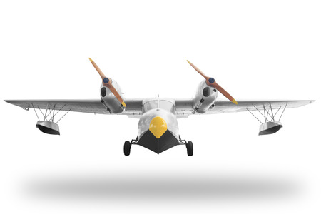 Classic retro style yellow airplane isolated on white background with clipping path Standard-Bild