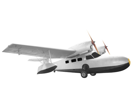 Retro style plane isolated on white background with clipping path