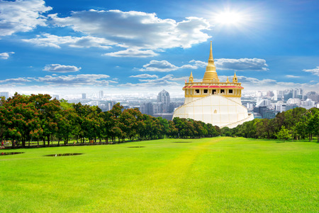 The Golden Mountain at Saket temple, travel landmark of bangkok Thailand
