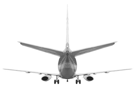 Rear view Passenger aircraft isolated on white background with clipping path Standard-Bild
