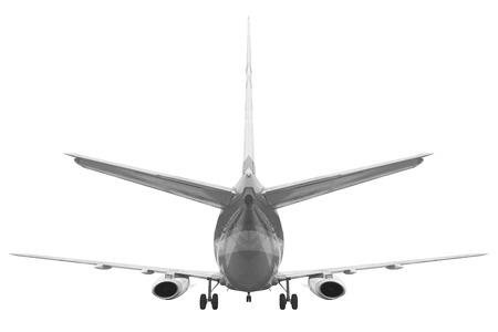 Rückansicht Passagierflugzeug auf weißem Hintergrund mit Clipping-Pfad isoliert