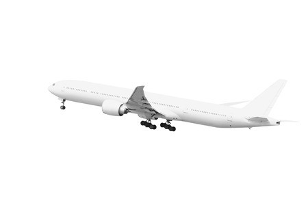 White Passenger aircraft taking off isolated on white background with clipping path