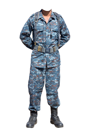 Soldier in positions parade rest position isolated on white background with clipping path Standard-Bild