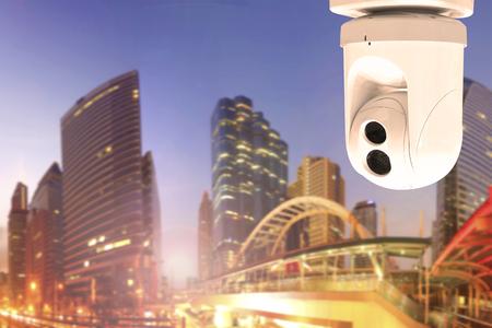 Security Camera or surveillance Operating on urban scene in sunset Standard-Bild