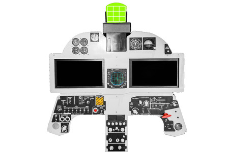 Internal fighter plane cockpit isolated on white background with clipping path