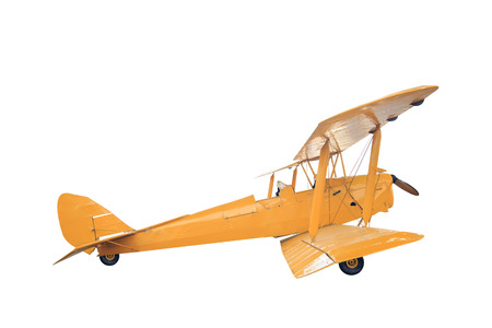 Retro style yellow biplane isolated on white background with clipping path