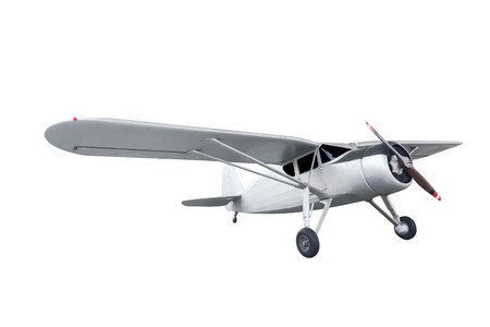 Retro style biplane isolated on white background with clipping path Standard-Bild