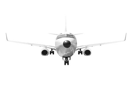 Frontansicht Passagierflugzeug auf weißem Hintergrund mit Clipping-Pfad isoliert