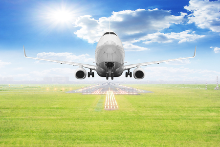 Passenger aircraft takeoff on runway of airport