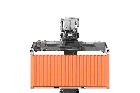 Kran anheben Container isoliert auf weißem Hintergrund mit Clipping-Pfad Standard-Bild - 69130914