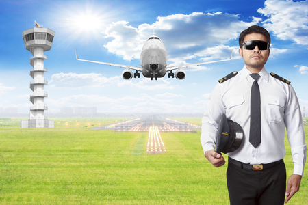 Pilot with passenger aircraft takeoff on runway of airport Standard-Bild