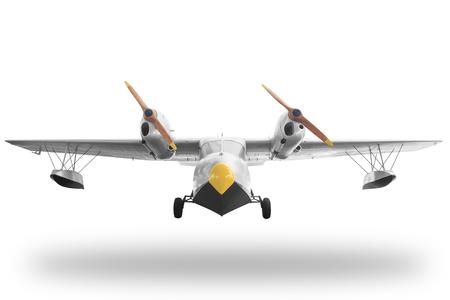 Klassische Retro-Stil gelbes Flugzeug auf weißem Hintergrund mit Clipping-Pfad isoliert Lizenzfreie Bilder