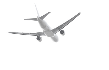Passenger aircraft taking off isolated on white background with clipping path