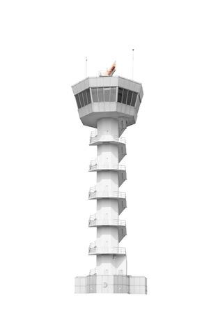Air Traffic Control Tower auf weißem Hintergrund mit Clipping-Pfad isoliert Standard-Bild - 69130939