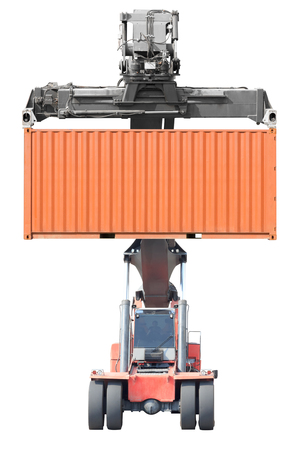 Gabelstapler Container isoliert auf weißem Hintergrund mit Clipping-Pfad Standard-Bild - 69130940