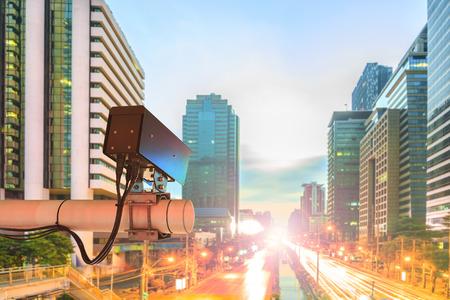 CCTV Security Camera or surveillance Operating on traffic road in sunset Standard-Bild