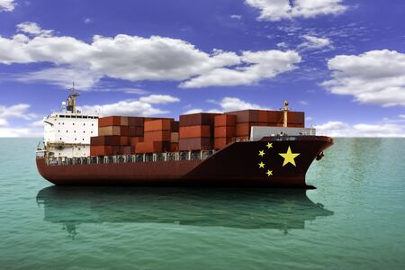 China trade cargo ships as an import and exports concept