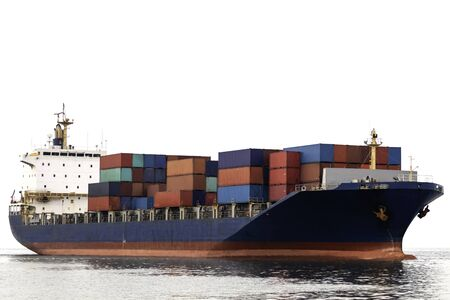 Container cargo ship with logistics import export and transportation concept isolated on white backgroundContainer cargo ship with logistics import export and transportation concept isolated on white background with clipping path