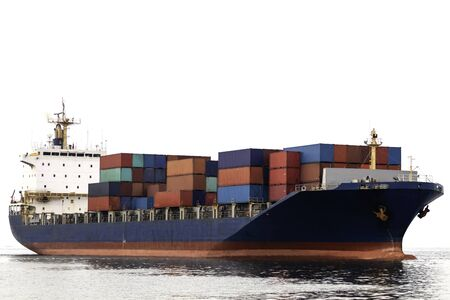 Container cargo ship with logistics import export and transportation concept isolated on white background