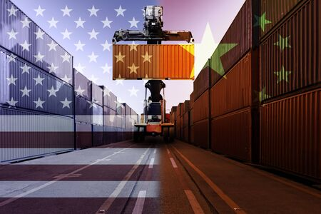 Double exposure image of United States of America and China trade war tariffs as two opposing container cargo and forklift in port as an economic taxation dispute over import and exports concept