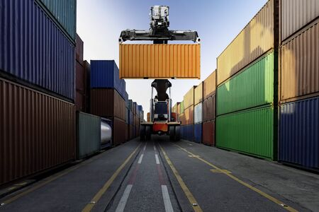 Container cargo with logistics import export and transportation concept Standard-Bild