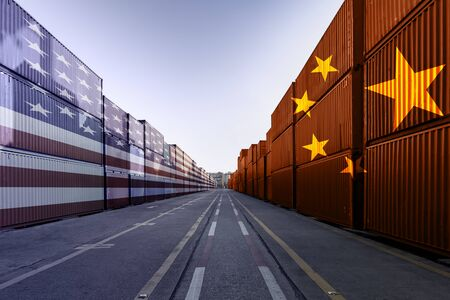 Metaphor image of United States of America and China trade war tariffs as two opposing container cargo in the port as an economic taxation dispute over import and exports concept