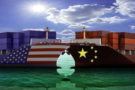 United States of America and China trade war tariffs as two opposing cargo ships against as an economic taxation dispute over import and exports concept