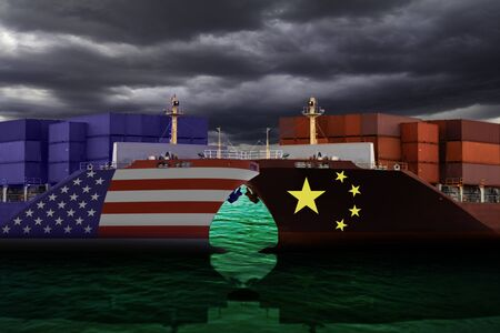 United States of America and China trade war tariffs as two opposing cargo ships against dark cloud as an economic taxation dispute over import and exports concept