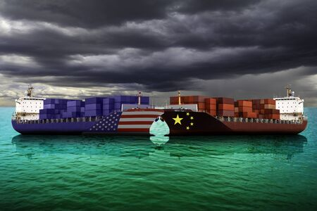 United States of America and China trade war tariffs as two opposing cargo ships as an economic taxation dispute over import and exports concept