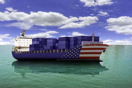 United States of America trade cargo ships as an import and exports concept