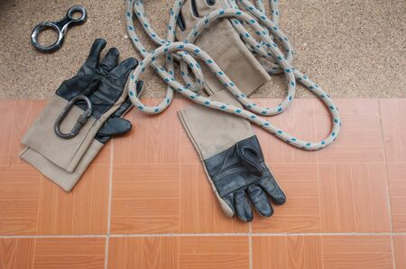 tied down: Equipment for work at heights Stock Photo
