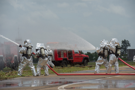 self contained: Fire departments & emergency response teams suited up with PPE to protect them from hazardous materials as they investigate this disaster.