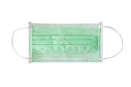 green color medical masks in isolated with white background, clipping path
