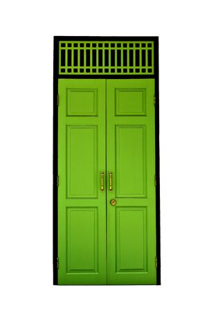 Green door from Pathumwanaram temple in bangkok. photo