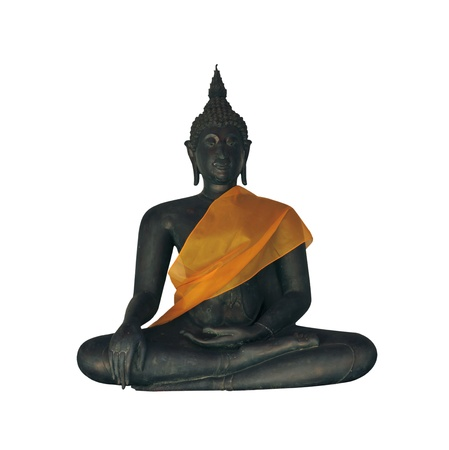 Buddha statue on white background from Wat Pho in Bangkok.