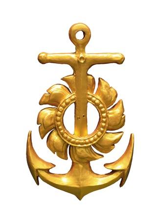 ancla: Representación de un ancla de oro aislado sobre fondo blanco. Foto de archivo