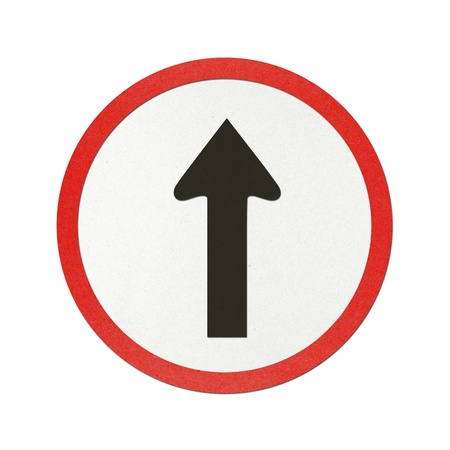 Go straight traffic sign recycled paper on white background. photo