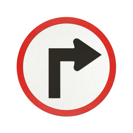 Turn Right traffic sign recycled paper on white background. photo