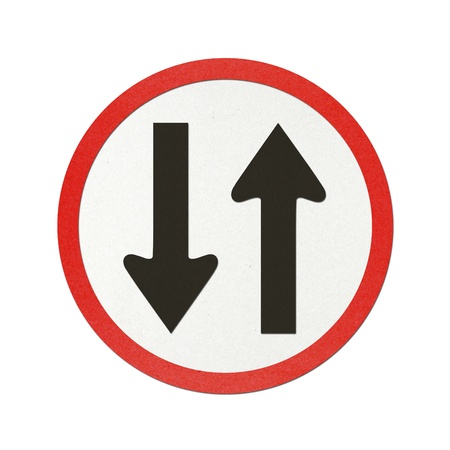 Opposite traffic sign recycled paper on white background. photo