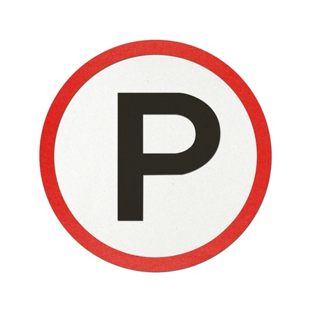 Parking traffic sign recycled paper on white background. photo