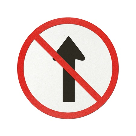 No straight traffic sign recycled paper on white background. photo