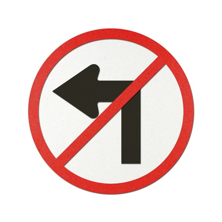 No turn left traffic sign recycled paper on white background. photo