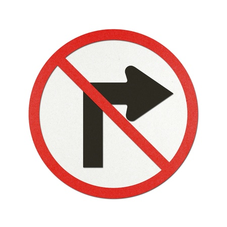 No turn right traffic sign recycled paper on white background. photo