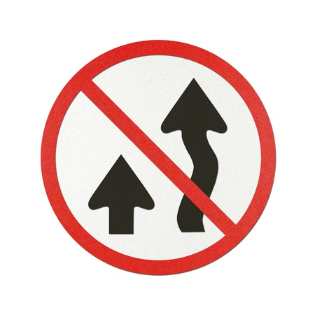overtake: Do not overtake traffic sign recycled paper on white background. Stock Photo