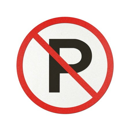No Parking traffic sign recycled paper on white background. Stock Photo - 10727886