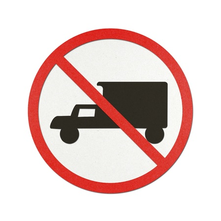 Trucks Prohibited traffic sign recycled paper on white background.