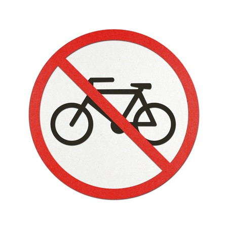 No Bikes traffic sign recycled paper on white background. photo