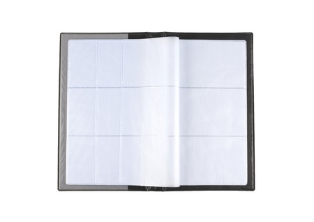 Opened business card book with blank pages on white background. photo